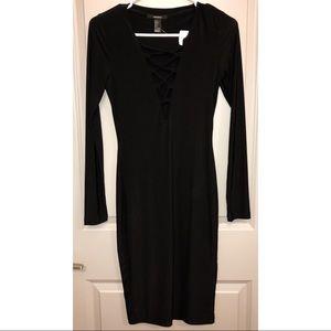 Black Lace Up Midi Dress